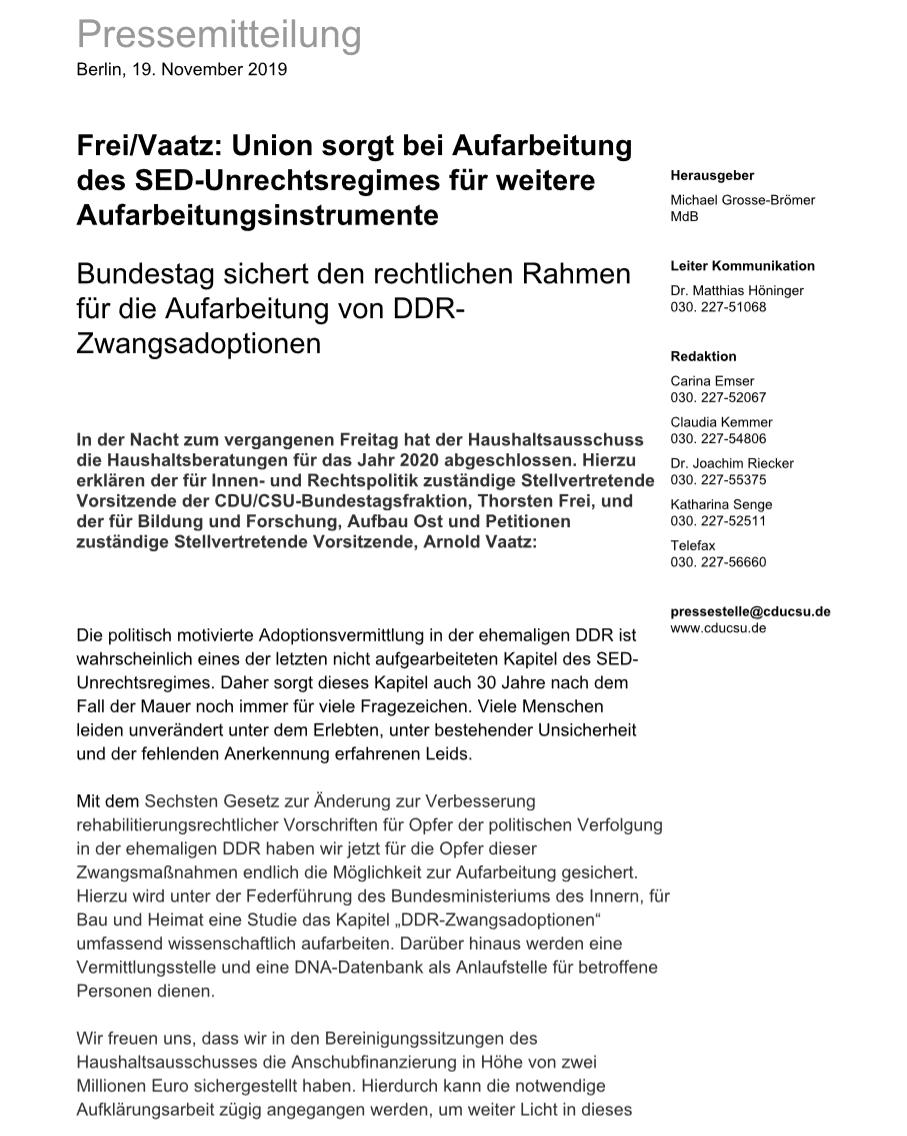 Pressemitteilung Frei/Vaatz Union sorgt bei Aufarbeitung des SED ...